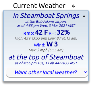 Want Other Local Weather? - Current weather box on the Snowalarm home page